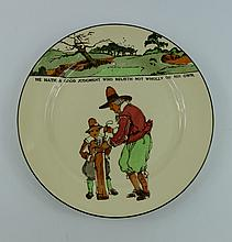 Royal Doulton series ware plate Crombie Golfers '' He hath a good judgment who relieth not wholly on  his own'' D3395, diameter 26cm