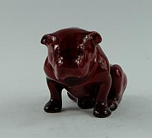 Royal Doulton flambe seated bulldog, height 6.25cm