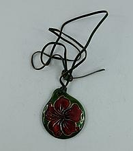 Moorcroft pendant decorated in the hibiscus design with green leather necklace, boxed