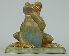 Beswick early model of  frog seated on a lily pad in orange and blue colour way 368