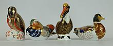 Royal Crown Derby Paperweights Kingfisher, Mandarin Duck Mallard Duck and Pelican , all have no stoppers (4)