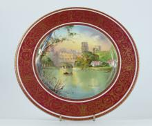 Royal Doulton cabinet plate Warwick Castle handpainted by Colin Beats