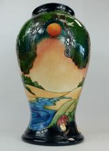 Moorcroft large vase decorated with trees and landscape design signed Emma Bossons dated 2003 height 33cm