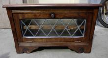 Oak glass fronted television cabinet