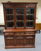 Modern repro priory style bookcase with leaded glass doors