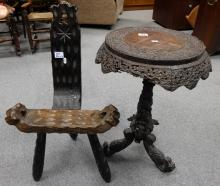 Anglo Indian carved occasional table and stool (2)