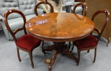 Italian Walnut Dining table and four similar spoon back chairs