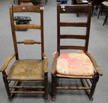 Early oak rush seated rocking chairs (2)