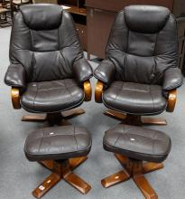 Two leather and wood high back chairs with matching stools