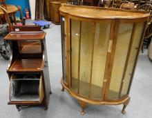 Edwardian Inlaid coal bucket in Sheraton revival style and China dispense cabinet in need of repair (2)