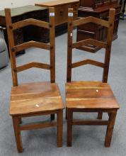 Two Indonesian ladder back chairs (2)