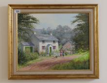 Oil painting of ladies and child outside country cottage by Chas Cooper in gilt frame, 62 x 52cm