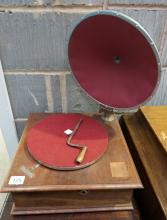 Pathe Diaphram model gramophone complete with red carded horn