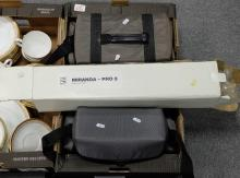A collection of photo equipment to include Sanyo video camera, Zenit 12XP Camera and Miranda tripod (3)