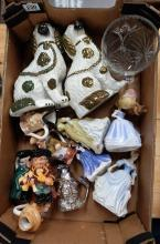 A collection of mixed items to include Viner Metal jug lighter, marked toby jugs, Beatrix Potter figure Hunca Munca, Repro Staffordshire dogs etc