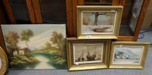 Oil paintings winter landscapes by V R Moore and ships by W A Elliot , all framed  (4)
