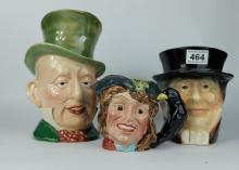 A collection of Beswick character jugs to include Mr Micawber 310, Barnaby Rudge 1121 and  Kingston Pottery character jug Pickwick (3)