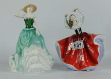 Royal Doulton figures Karen HN2388 and Emily HN4093 (seconds) (2)