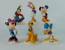 Royal Doulton Disney 70th Anniversary Figures Mickey Mouse MM1, Minnie Mouse MM2, Donald Duck MM3, Goofy MM5, Daisy Duck MM4 and Pluto MM6 , all boxed (6)
