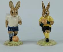 Royal Doulton Bunnykins pair figures Goalkeeper DB120 and Footballer DB121, UKI Ceramics limited edition (2) (both boxed)