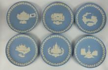 Wedgwood Blue Jasperware Christmas Plates for 1973, 1972, 1985, 1971, 1981 and 1969 (6)