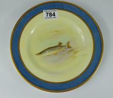 Royal Doulton cabinet plate hand painted with Pike, diameter23.5cm