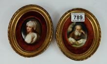 Pair Royal Copenhagen plaques of Carl Larssons children in wood frames (2)