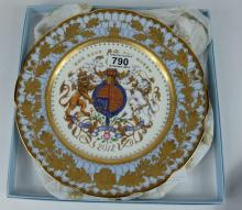 A Buckingham Palace Fine English Bone china cabinet plate God Save The Queen 2012 , in original box