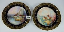 Pair Salviati & co plates hand painted with Game birds signed by Biff, Erede Venezia to back stamp,  diameter 24 cm  (one has piece broken and re-stuck ) (2)