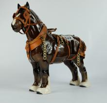 Beswick model of Shire Horse Burnham Beauty 2309 in full working harness