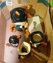 Crown Devon toby teapots and Long John silver toby jug (4)