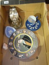 A collection of items to include German Herin Steiner pottery dolls head, Early Adams tunstall cup and saucer, silver plate and gravy boat, Royal Doulton seriesware plate etc