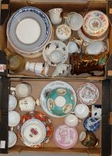 A collection of mixed items to include chinese items, crown derby commemorative items, plates, cups, etc (2 trays )
