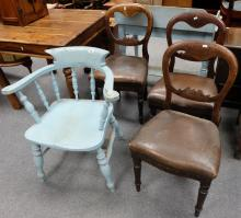 Painted Captains chair and three spoon back chairs(4)