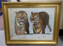 Asian Painting on silk of Tigers