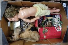 A collection of vintage costume jewellery , Chad Valley soft toy and Shirley temple doll