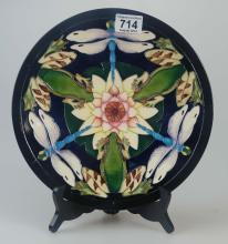 Moorcroft Sir Harold Hiller Dragonfly's Gardens Plate 18cm diameter