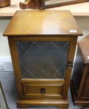 Small glazed oak hifi cabinet