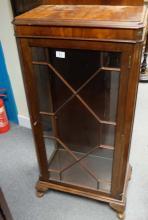 1930s mahogany single door display cabinet