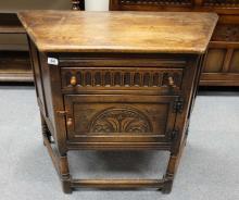 Quality Georgian style Oak carved side cabinet