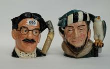 Royal Doulton large character jugs Groucho Marx D6710 and The Falconer D6533  (2)