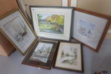 A collection of framed pictures including R Wilshaw painting of Yorkshire Dales, Margret Hayes water colour of sea scene, Ltd edition print of seaside scene signed James Tyths, Signed print of local market scene and original watercolour of landscape scene signed L Kennedy (5)
