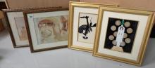 Four framed prints in various modern designs (4)