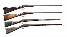4 ANTIQUE SHOTGUNS & FOWLERS.