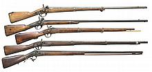 5 ANTIQUE EUROPEAN PERCUSSION MUSKET/FOWLERS.