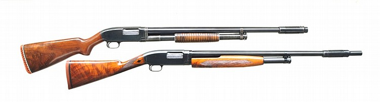 2 WINCHESTER MODEL 12 PUMP SHOTGUNS.