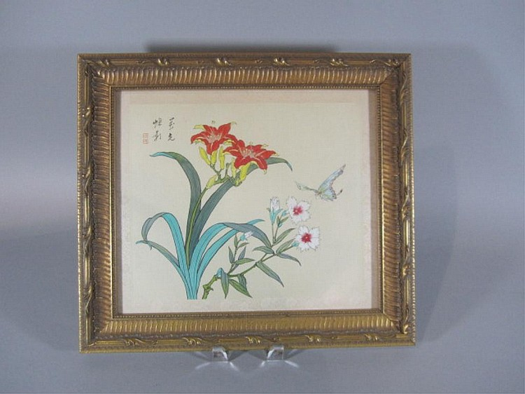 H18-17  CHINESE FLOWERS WITH BUTTERFLY PICTURE