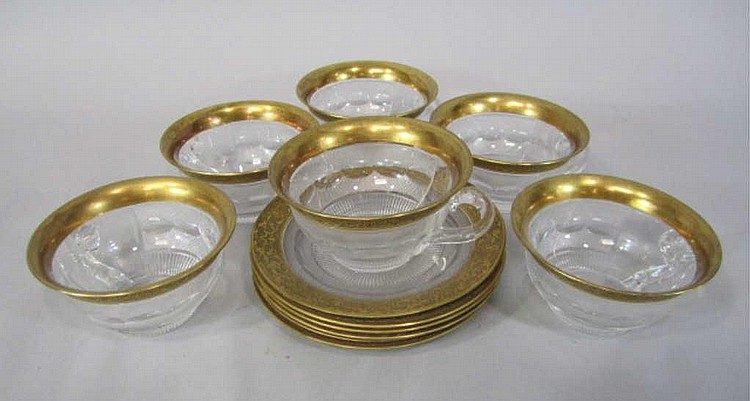 H80-199  SET OF 6 MOSER SPLENDID GOLD SHERBERTS