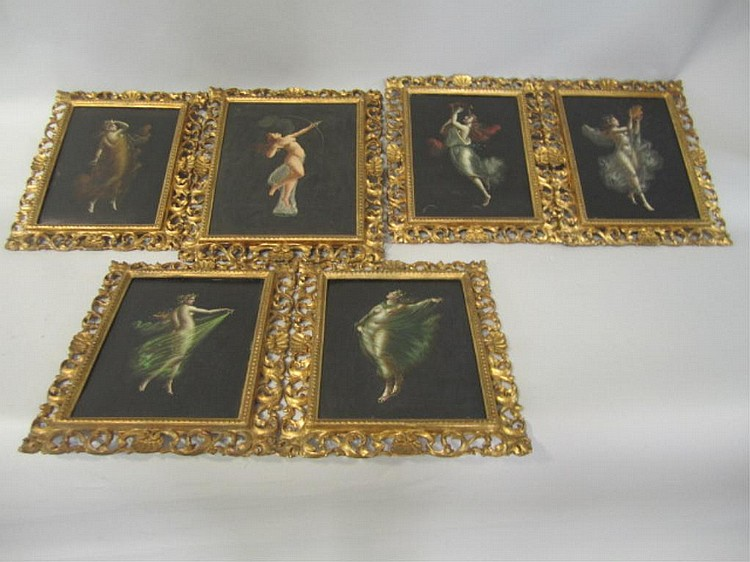 H25-15  SET OF SIX FRAMED PAINTINGS