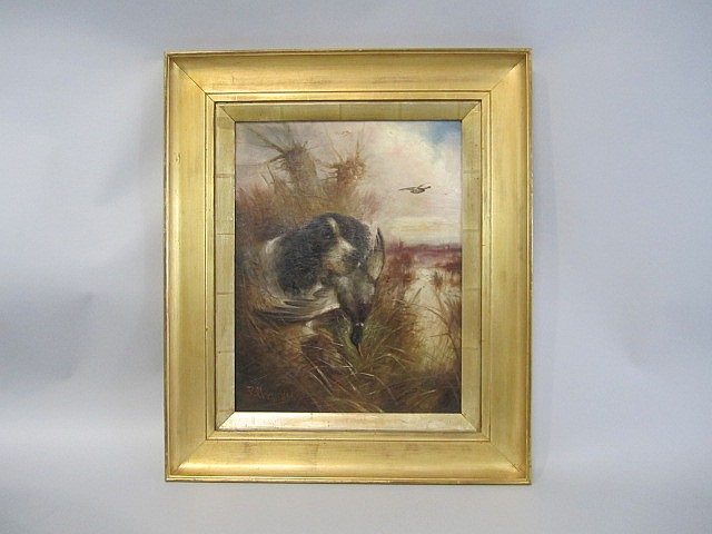A45-4  ROBERT CLEMINSON HUNTING DOG PAINTING
